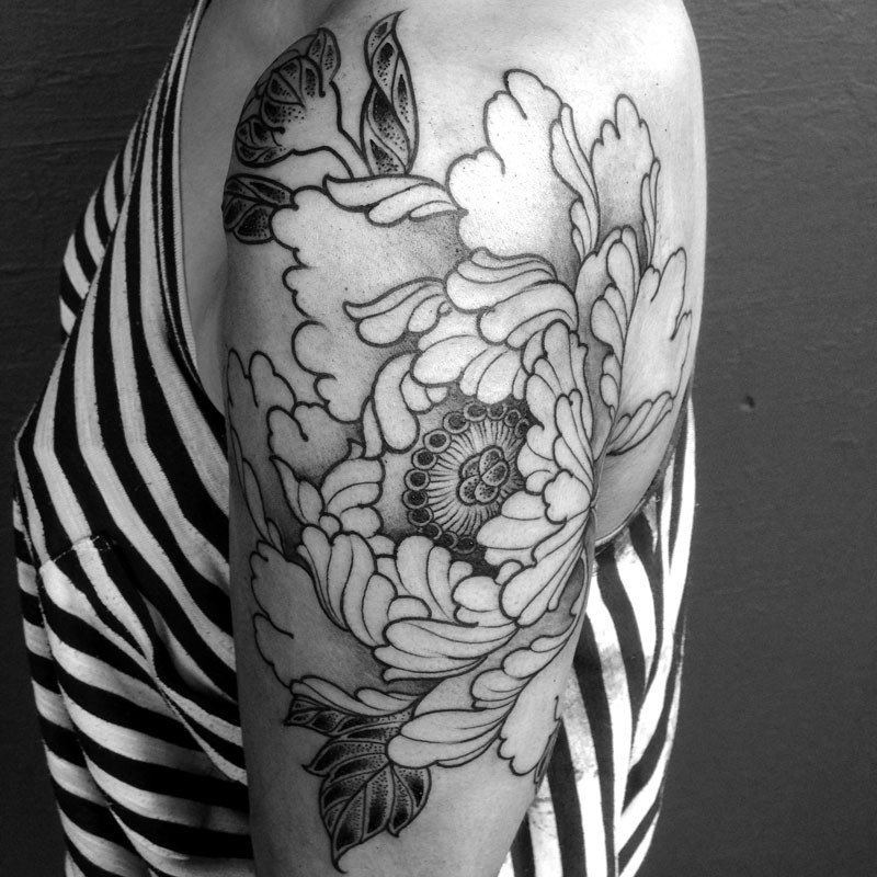 Japanese Peony shoulder Tattoo - Mark Nara -