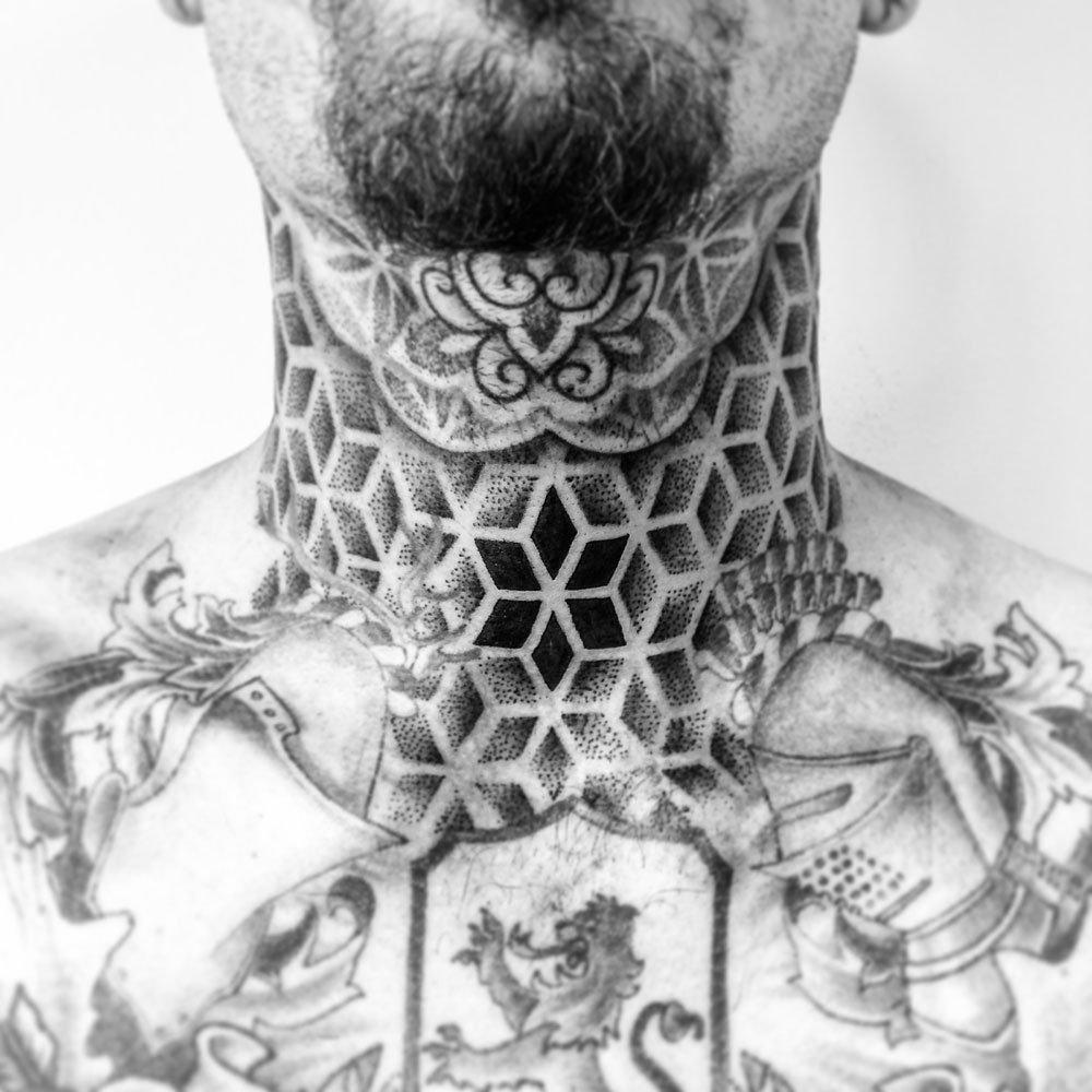 Asanoha throat tattoo - Mark Nara -