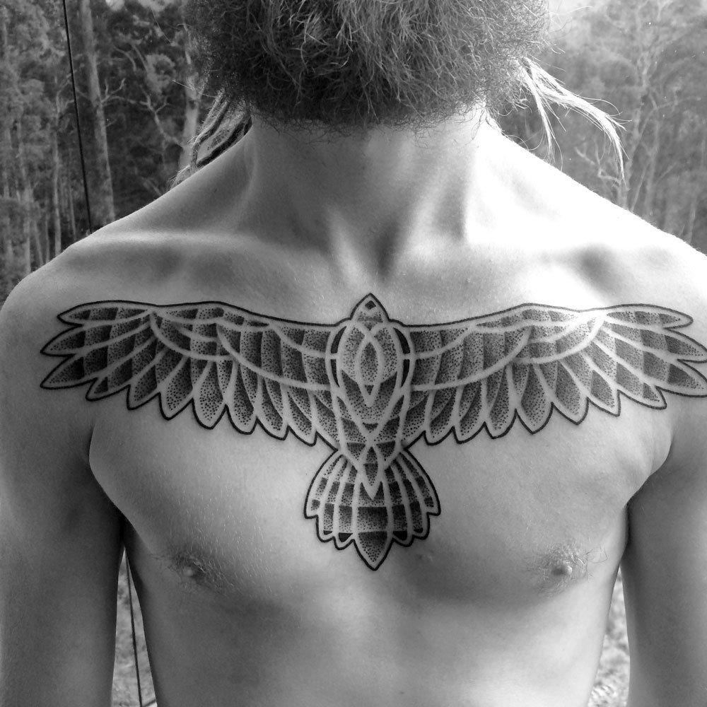 wedge-tail eagle dotwork chest - Mark Nara -